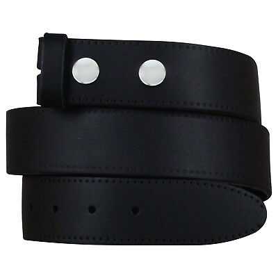 """New Mens Real Leather Snap On Belts Black Brown White No Buckle Sizes 28"""" - 52"""" 2"""