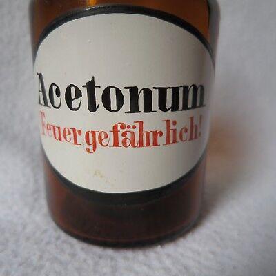 Apothekerflasche Braunglas mit Schliff-Stopfen Acetonum feuergefährlich! RAR! 2