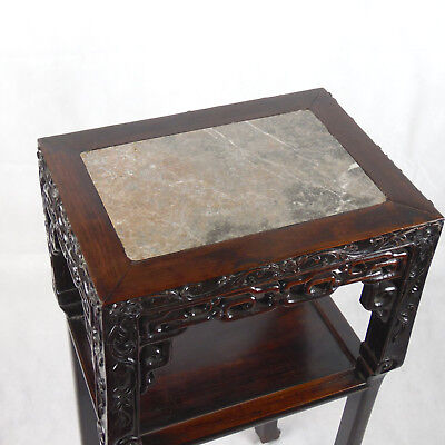 Chinese Hardwood Incense Table Marble Inset Qing Dynasty 19th C 2