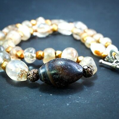 Original Ancient Roman Crystal Bead 22k Solid Gold Ancient agate Bead 1800yrs 4