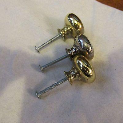 3 Vintage Polished Brass Heavy Metal Drawer Pulls or Knobs & Screws 4