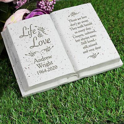 Personalised Memorial Book / Bible Plaque Garden Grave Ornament Cross Rose 11