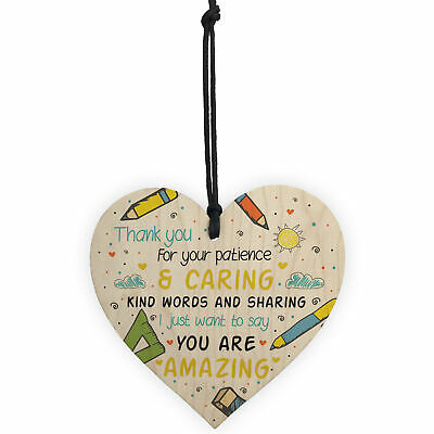 Gift For Teacher And Assistant Wooden Heart Nursery Thank You Gifts Leaving Gift 5