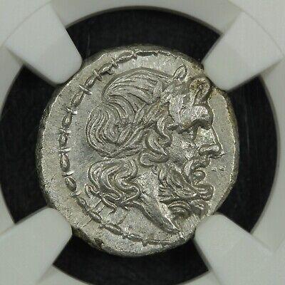 c.211-208 BC Roman Republic AR Victoriatus Jupiter Victory Erects Trophy NGC MS 2
