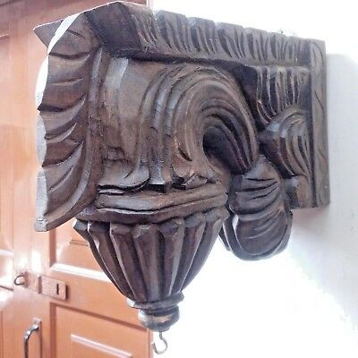 Corbel Pair Wall Hanging Bracket Vintage Wooden Craft for Hanging Lamp Bell 4