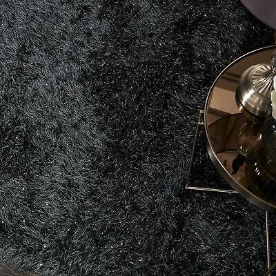 5.5cm Black Large SHAGGY Floor RUG Soft SPARKLE Shimmer Glitter Thick Pile 5