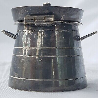 Unusual Silver Plate (E.P.N.S) Milk Churn Form Mustard Pot ~ Curiosity ~ Unique 4