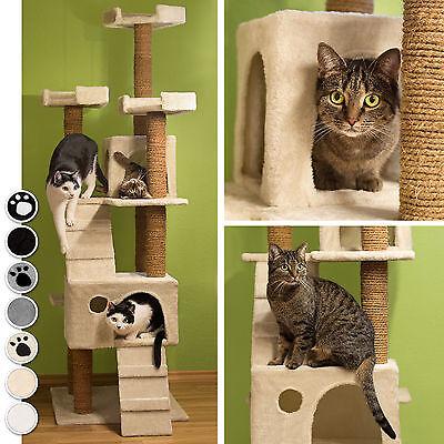 Arbre à chat griffoir grattoir jouet geant 2 grottes 169cm chats noir pattes 2