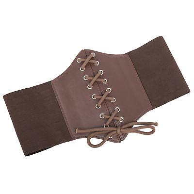Ladies Waist Cincher Wide Band Elastic Tied Waspie Corset Leather Belt Uk Stock 3