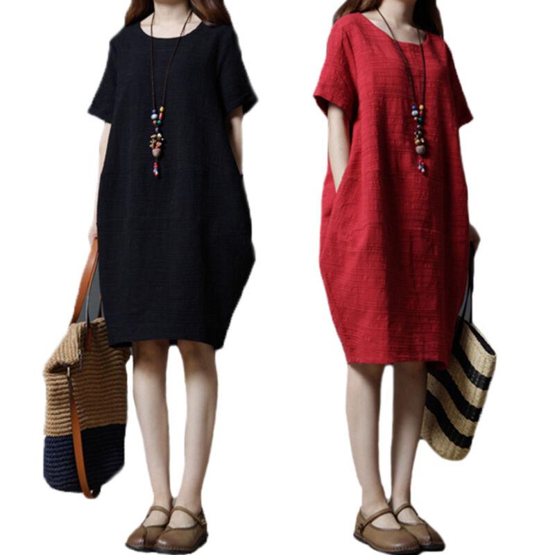 Plus Women Summer Baggy Cotton Linen Casual Loose Long Maxi Dress Boho Kaftan UK 5