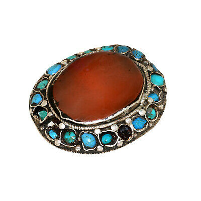 (2561)Antique Element of head decoration.Tibet / China Turquoise and carnelian. 4