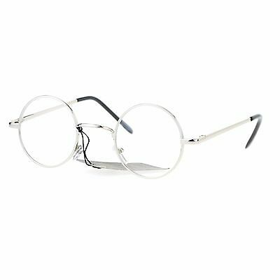 Super Small Clear Lens Glasses Round Circle Metal Frame Spring Hinge UV400