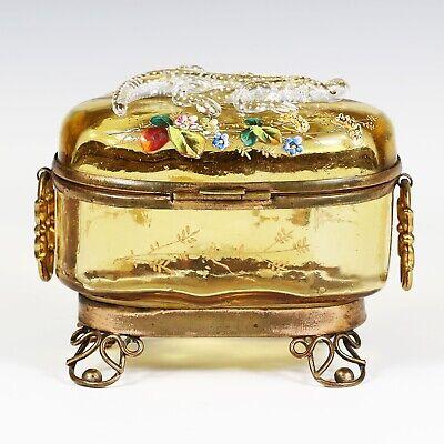 Antique Moser Bohemian amber art glass Casket hinged box enameled applied lizard 5