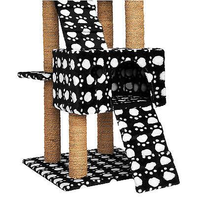 Arbre à chat griffoir grattoir jouet geant 2 grottes 169cm chats noir pattes 3
