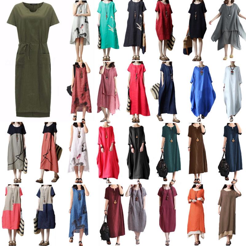 Plus Women Summer Baggy Cotton Linen Casual Loose Long Maxi Dress Boho Kaftan UK 2