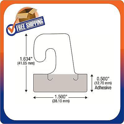 250 Self Adhesive Clear Plastic Hook Hang Tab Tags Pegbord Slatwall Hanger 14Oz