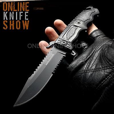 TAC FORCE BLACK TACTICAL BOWIE KNIFE Spring Assisted Rescue Pocket Sawback Blade
