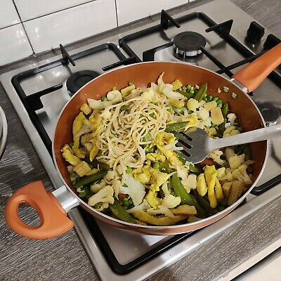 28cm Deep Saute Pan Lidded Non Stick Ceramic Coated Induction Pot Cooking Frying