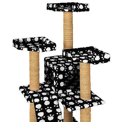 Arbre à chat griffoir grattoir jouet geant 2 grottes 169cm chats noir pattes 4
