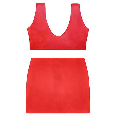 Latex Set aus Rubber (Bustier und Mini) in rot, Einheitsgröße 4