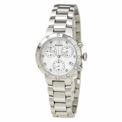 Bulova Women's 96R202 Diamond Chronograph Quartz Mother of Pearl Dial Watch 2