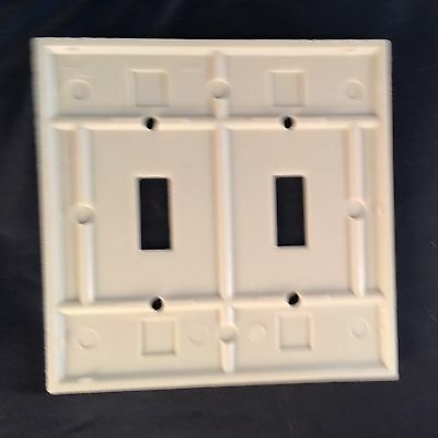 BULK Box of 10 Two Gang Eagle Bakelite Toggle Ivory Wall Plates 139V-Box Vintage