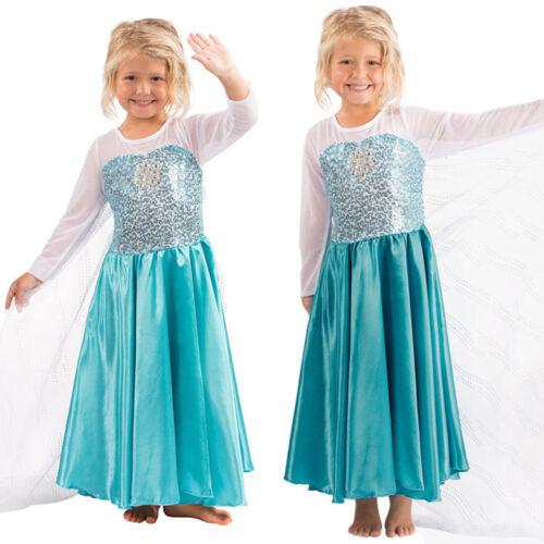 GIRLS DISNEY ELSA Frozen Dress Cosplay Costume Princess Anna Party ...