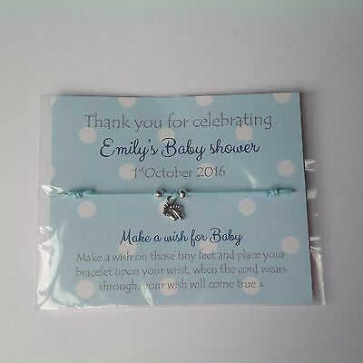 Baby Shower Favour Friendship wish bracelet,girl,boy,Baby announcements cards