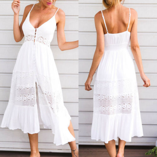 new product e0a4e 84f0b DAMEN MINIKLEID MAXIKLEID Sommerkleid Strandkleid Partykleid Weiß GR.32-46