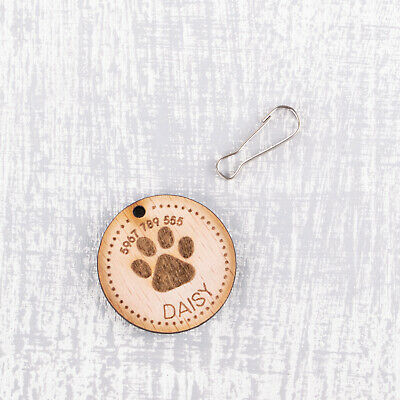 Personalised Engraved Wooden Pet ID Collar Tags Cat Dog  35mm Paw Print 3