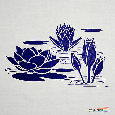 WATER LILY STENCIL Template: Extra Large:: ST47XL - $23.71   PicClick