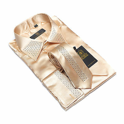 edba8c94b4e7 ... Robelli Men's Diamante Collar Cuff Satin Shirt & Matching Tie - Champagne  Gold 2