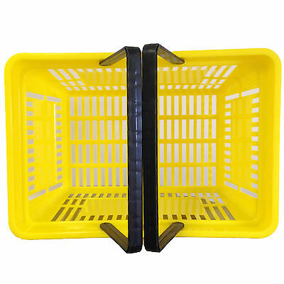 2 Handle Yellow Plastic Shopping Basket Retail Supermarket Use Hand Carry 2