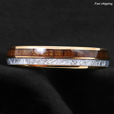 8/6mm Rose Gold Dome Tungsten Ring Silver Koa Wood Inlay Bridal ATOP Men Jewelry 8