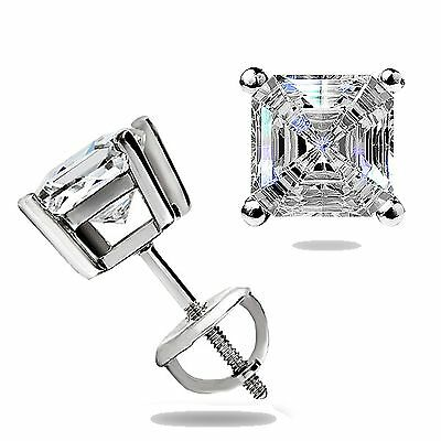 1.50Ct Asscher Cut Solitaire Stud Earrings Lab Diamond 14k White Gold Screw Back 10