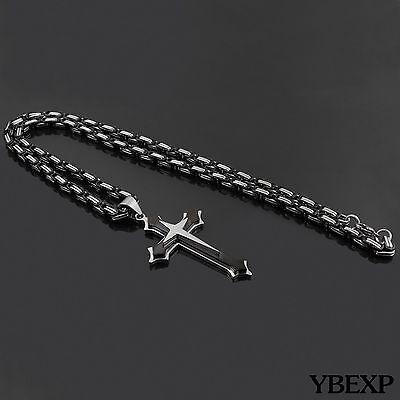 20''-36''Men Stainless Steel Cross Pendant Black Necklace Byzantine Box Necklace 4