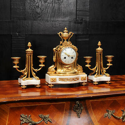 Ormolu and Marble Boudoir Antique French Clock Set by Vincenti C1860 4