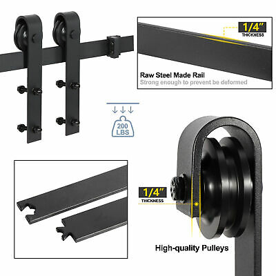 Sliding Barn Door Hardware Kit 6.6FT Modern Closet Hang Style Track Rail Black 11