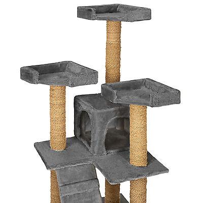 Arbre à chat griffoir grattoir jouet geant 2 grottes 169cm pour chats gris 4