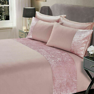 New Sienna Crushed Velvet Panel Duvet Cover Pillow Case Bedding Set 3