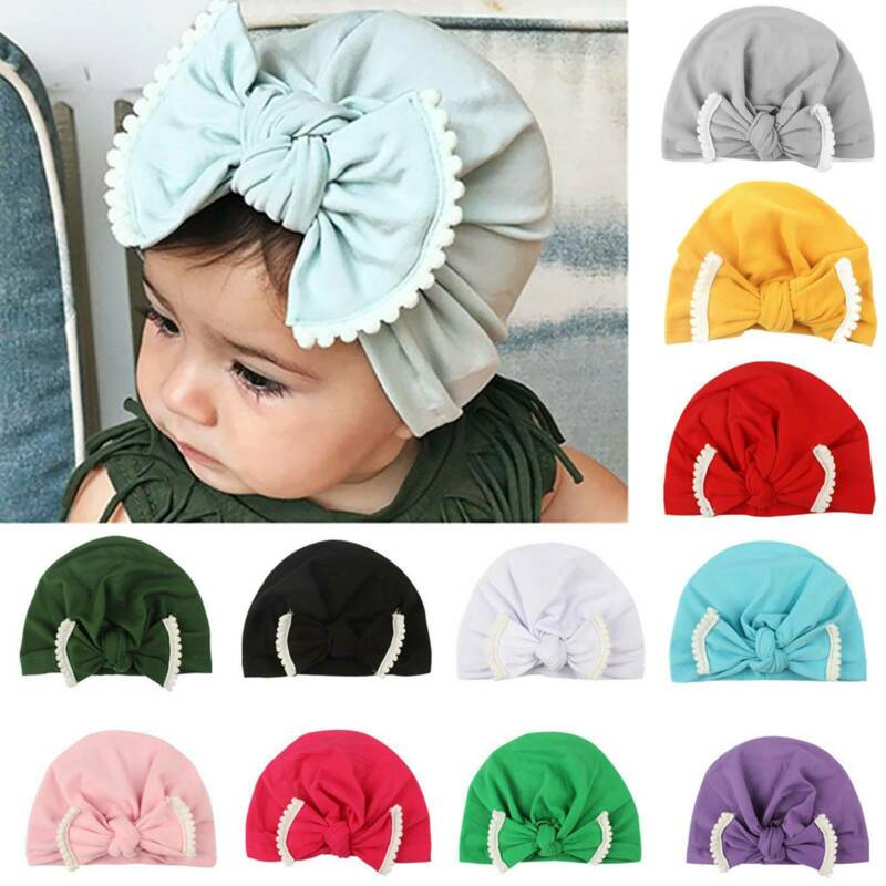 À Rayures Rose Rayures Baby Bow Cap Beanie Chapeaux Newborn Infant Girl Hat Soft UK FA