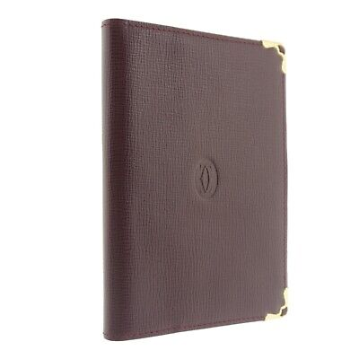 Authentic Cartier Must Line Agenda Day Planner Cover Bordeaux Leather #f135091 2