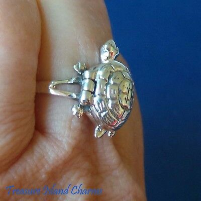 Turtle 925 Solide Argent Sterling Poison Pill Box Anneau Ouvre Taille 6 7 8 9 ouvre