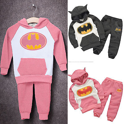 Toddler Kids Baby Girl Boy Outfits Clothes Batman Hooded Sweatshirt + Long Pants