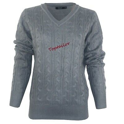 Ladies Womens V Neck Cable Knit Long Sleeve Knitted Jumper Sweater Top Quality 3
