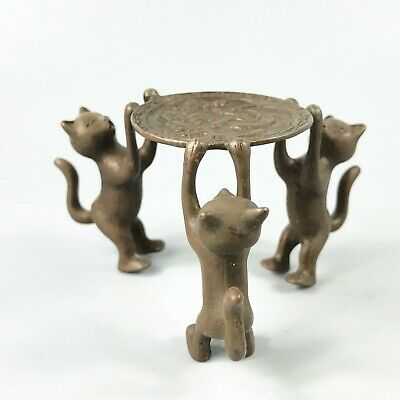 Exquisite Collectible Old Copper Handwork 3 Cats Chinese Candlestick Statue RN 3