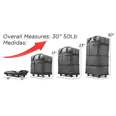 """30"""" Rolling Wheeled Duffel Bag Spinner Suitcase Luggage Expandable in Black 4"""