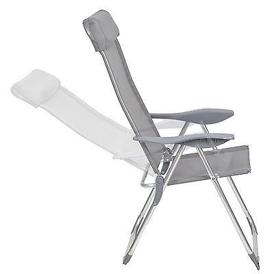 Lot de 4 chaises de jardin aluminium pliante camping terrasse balcon gris