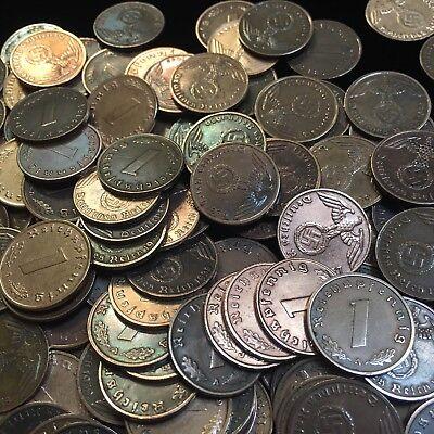 50 Coin Lot Rare WW2 German 1 RP Reichspfennig 3rd Reich Bronze Nazi Coins 10