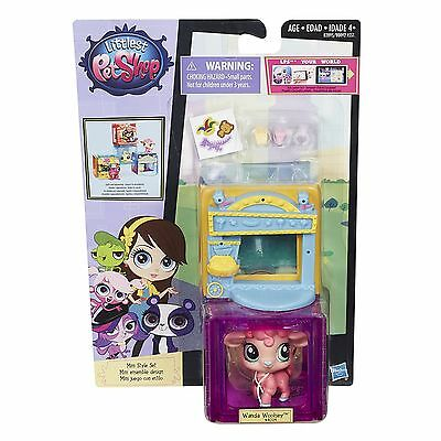 Littlest Pet Shop Mini Style Set with #4024 WANDA WOOLSEY Lamb Figure (B2895)